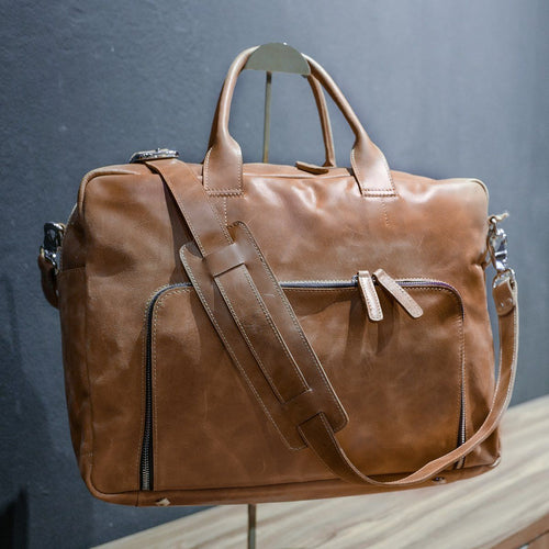 DB93 | Travel Laptop Bag (Premium Light Aniline Leather)
