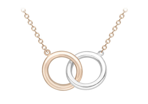 9ct Two Tone Rose and White Gold Interlocking Ring Necklace