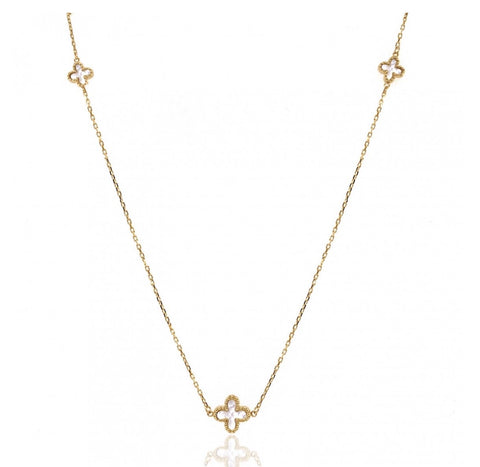 9ct Yellow Gold Mother of Pearl Flowers Necklace