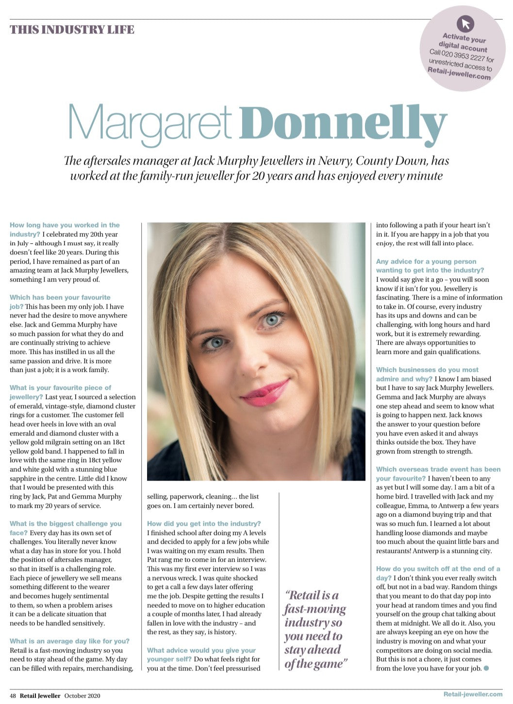 Celebrating 20 Years: Aftersales Manager, Margaret Donnelly Chats to Retail Jeweller Magazine
