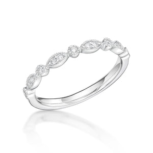 18ct White Gold 0.12ct Fancy Cut Diamond 2mm Band