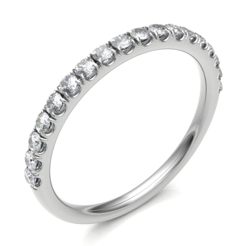 18ct White Gold 0.27ct Claw Set Brilliant Cut Diamond 2mm Band