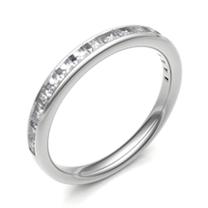 Platinum 0.56ct Princess Cut Channel Set Diamond Band