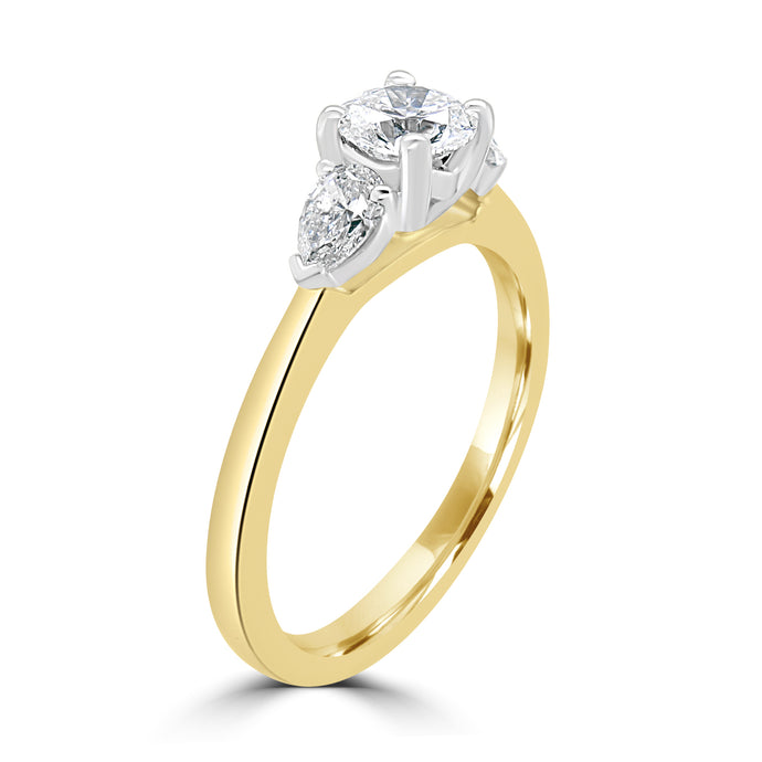 18ct Yellow Gold Three-Stone Round Brilliant and Pear Cut Diamond Ring