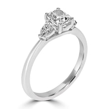 Load image into Gallery viewer, Platinum Cushion and Pear Cut Diamond Three-Stone Ring