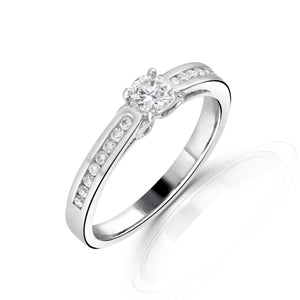 18ct White Gold Round Brilliant Channel Set Shoulders