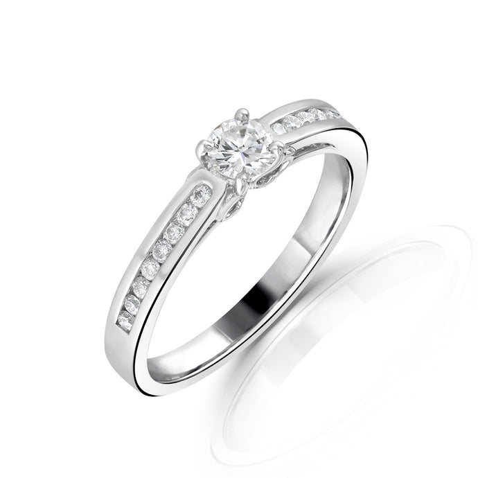 18ct White Gold Diamond Solitaire with Channel Set Shoulders