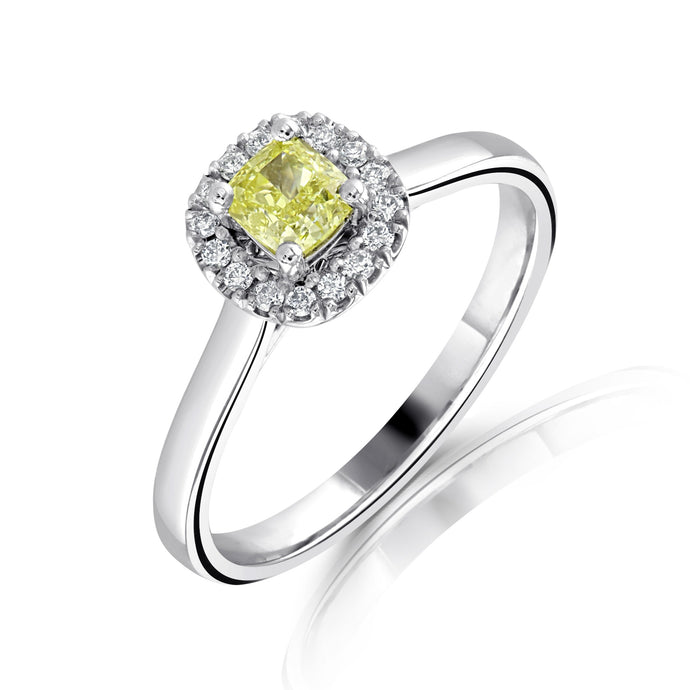 Platinum Princess Cut Yellow Diamond 0.42ct with Diamond Halo 0.10ct