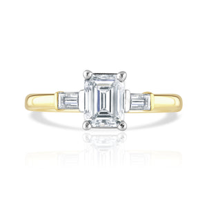 18ct Yellow Gold Emerald Cut Diamond Trilogy Ring