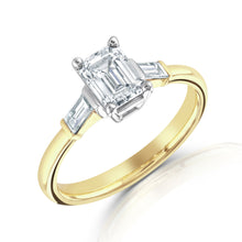 Load image into Gallery viewer, 18ct Yellow Gold Emerald Cut Diamond Trilogy Ring