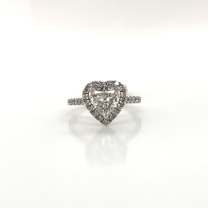 Platinum Heart Solitaire Halo Diamond Set Band 1.89ct