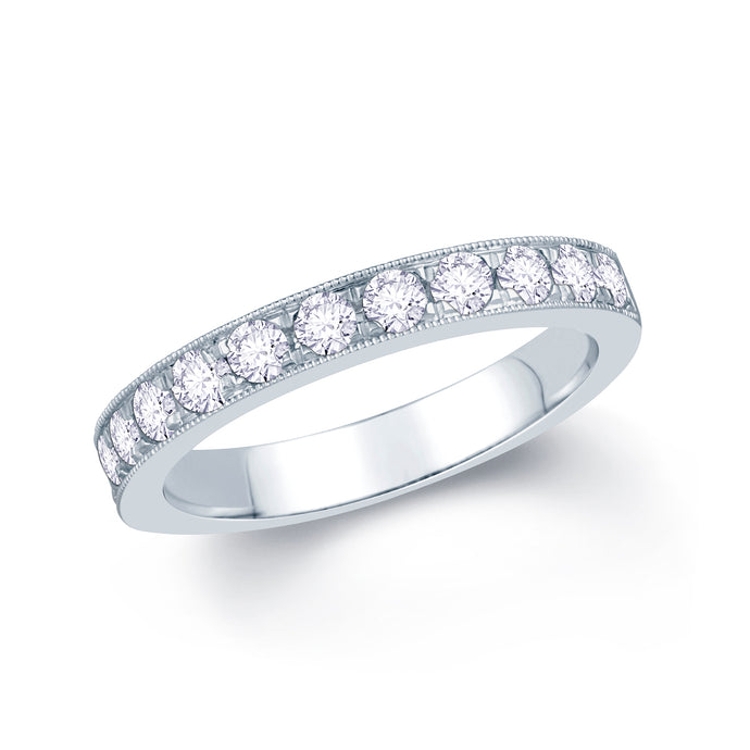 Platinum 0.55ct Round Pave Set 3mm Diamond Ring