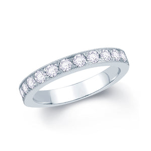 18ct White Gold 0.55ct Round Pave Set 3mm Diamond Ring
