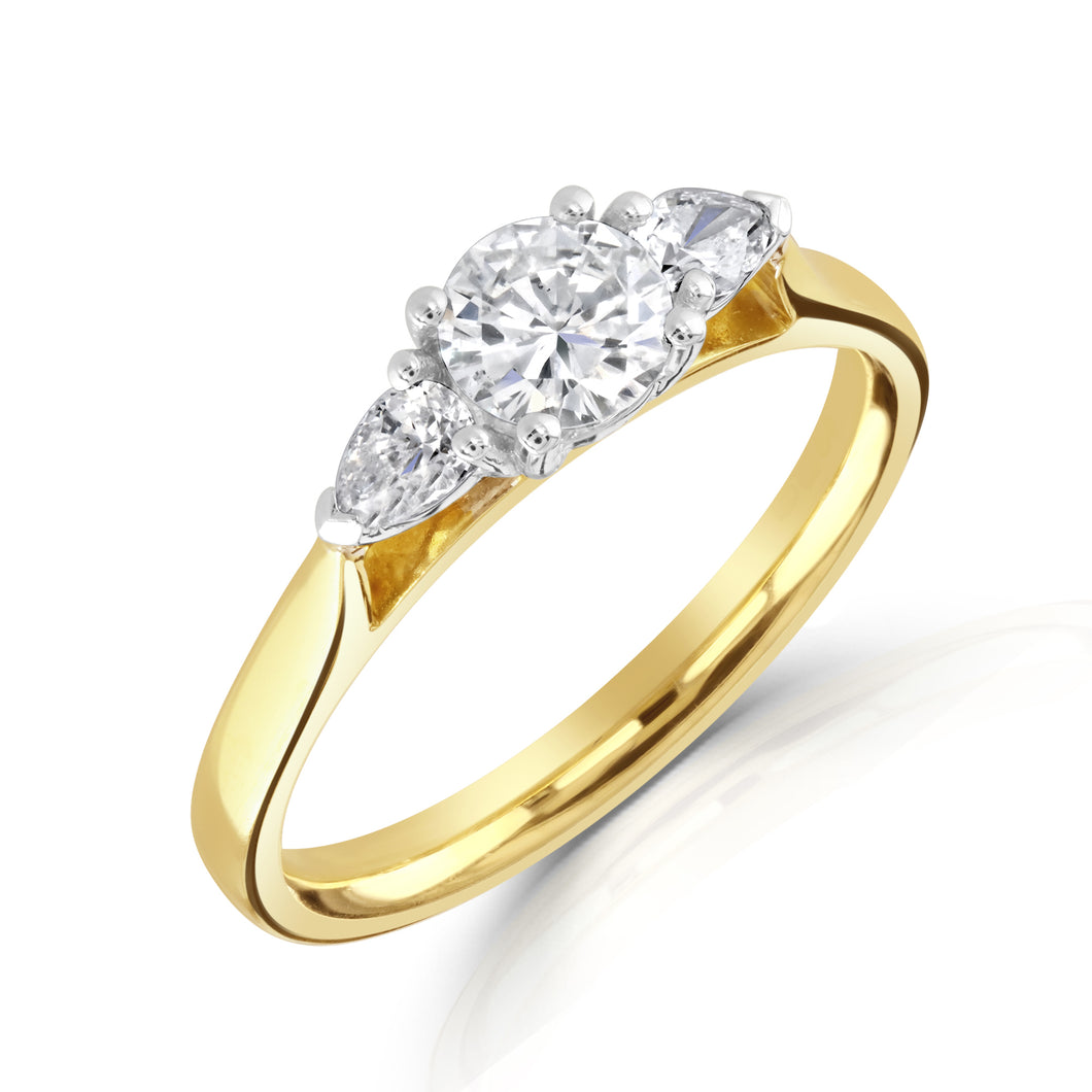 3 Stone Brilliant and Pear Cut Diamond combination with 18ct Yellow Gold Shank
