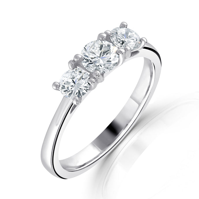 18ct White Gold 0.86ct Three-Stone Diamond Ring