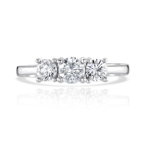 Classic Trilogy Diamond ring on a plain 18ct white gold band
