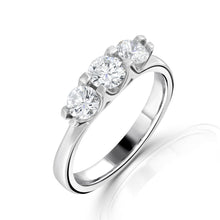 Load image into Gallery viewer, Platinum Three Stone Brilliant Cut Diamond Ring 0.90ct
