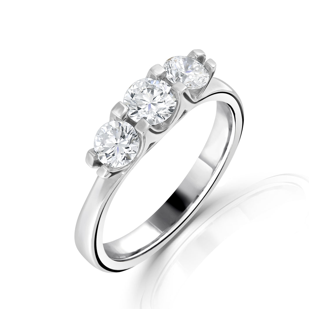 Platinum Three Stone Brilliant Cut Diamond Ring 0.90ct