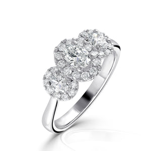 Platinum Three Stone Oval Halo Diamond Ring