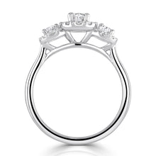 Load image into Gallery viewer, Platinum Three-Stone Oval Halo Diamond Ring
