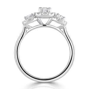 Platinum Oval Halo Three-Stone