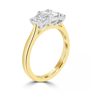 18ct Yellow Gold Radiant Three-Stone Ring