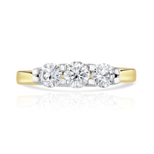 Load image into Gallery viewer, 18ct Yellow Gold Round Three-Stone Diamond Ring