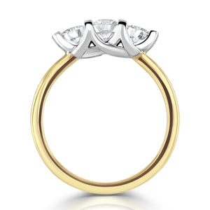 18ct Yellow Gold Round Three-Stone Diamond Ring