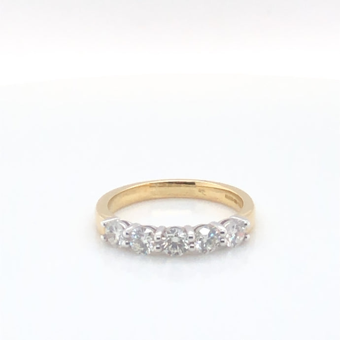 18ct Yellow Gold Five Stone Diamond Ring 0.85ct