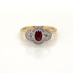 18ct Yellow Gold Oval Ruby Three Stone Halo