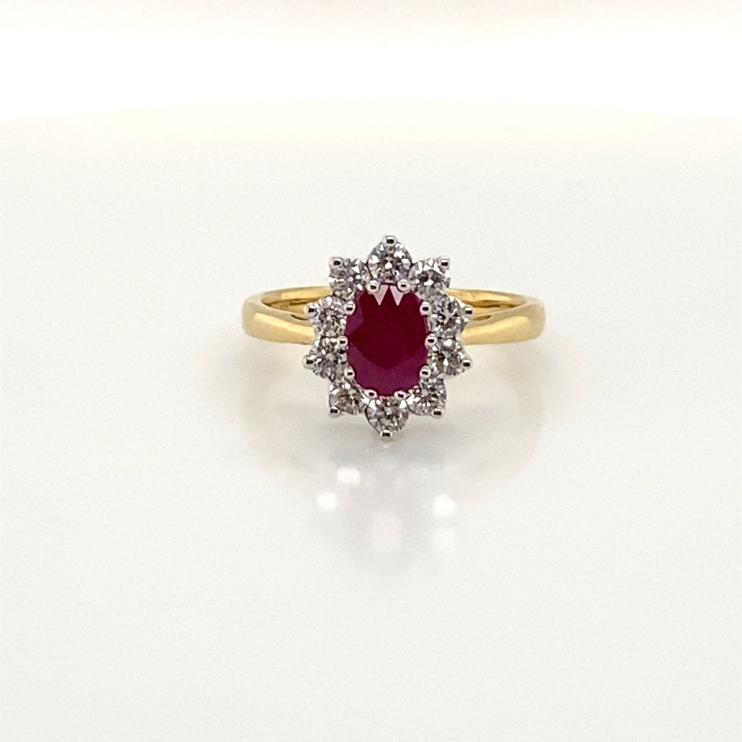 18ct Yellow Gold Oval Ruby and Diamond Cluster