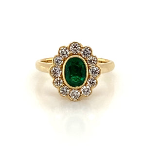 18ct Yellow Gold Oval cut Emerald with Diamond Cluster 1.42ct