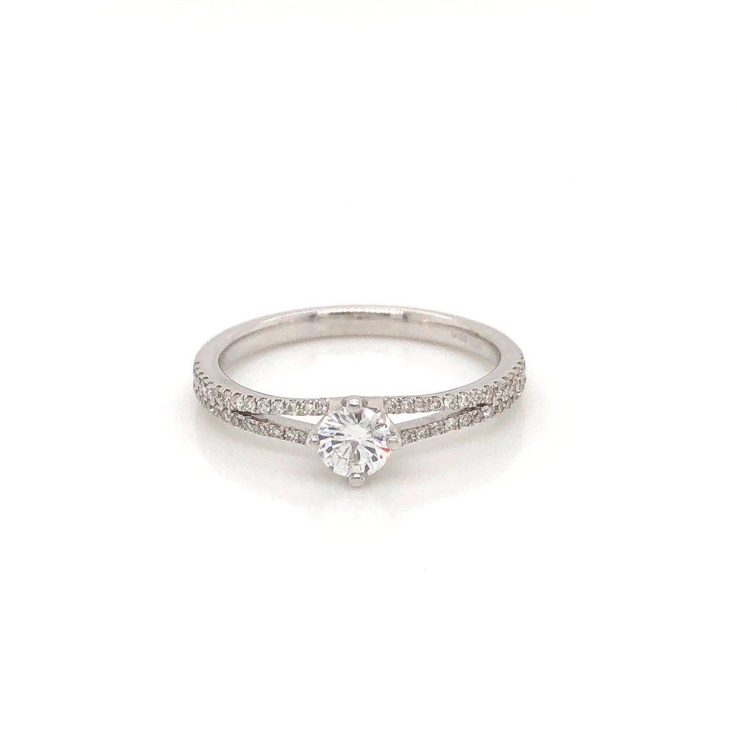 Diamond solitaire with diamond set split shank in 18ct white gold
