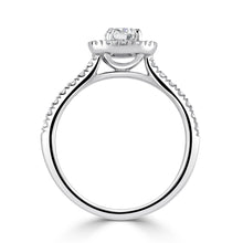 Load image into Gallery viewer, Halo Brilliant cut Diamond Solitaire with Diamond set shoulders in Platinum