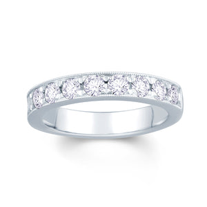 18ct White Gold 0.75ct Round Pave Set 3.5mm Diamond Ring