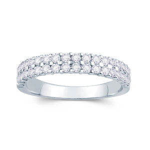 18ct White Gold 0.50ct Round Two Row Claw Set 3.5mm Diamond Ring