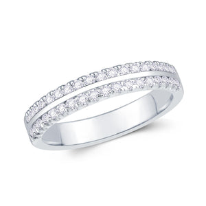 18ct White Gold 0.30ct Round Two Row Flat Claw Set 3.5mm Diamond Ring