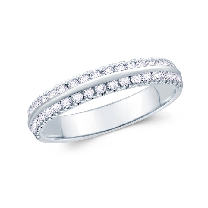Platinum 0.30ct Round Two Row Claw Set 3.5mm Diamond Ring