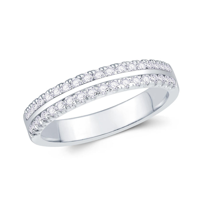 Platinum 0.30ct Round Two Row Flat Claw Set 3.5mm Diamond Ring