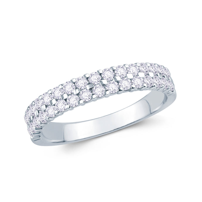 Platinum 0.50ct Round Two Row Claw Set 3.5mm Diamond Ring