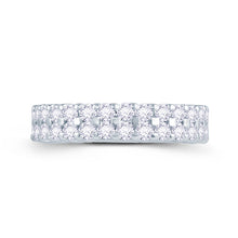 Load image into Gallery viewer, 18ct White Gold 1ct Round Two Row Claw Set 4mm Diamond Ring