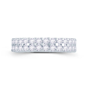 18ct White Gold 1ct Round Two Row Claw Set 4mm Diamond Ring