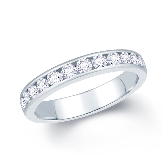 Platinum 0.65ct Round Channel Set Diamond Ring