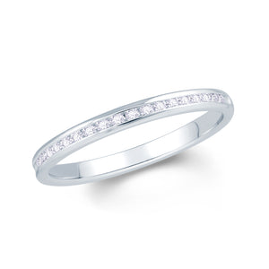 18ct White Gold 0.10ct Round Channel Set Diamond Ring