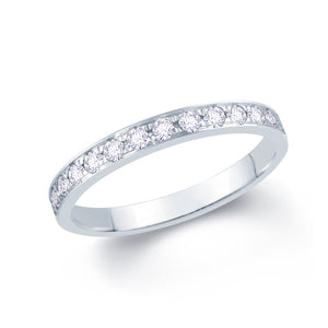 18ct White Gold 0.30ct Round Pave Set 2.5mm Diamond Ring