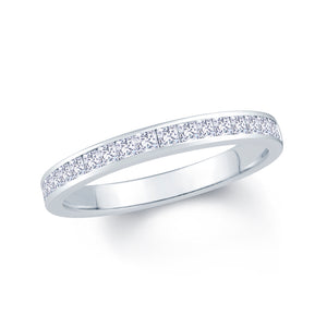 18ct White Gold 0.50ct Princess Cut 2.5mm Diamond Ring