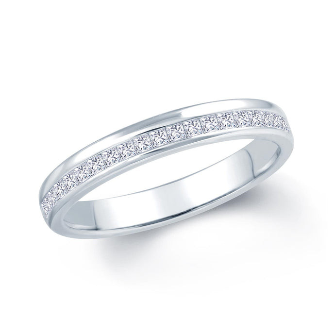 18ct White Gold 0.30ct Princess Cut Offset 3mm Diamond Ring