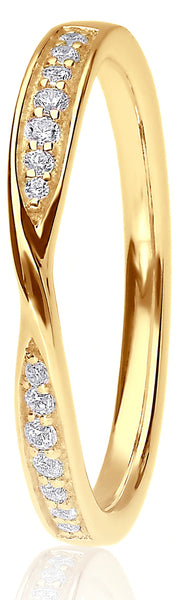 18ct Yellow Gold 0.12ct Ribbon Channel Set Wedding Ring