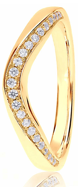 18ct Yellow Gold 0.16ct Wave Channel Set