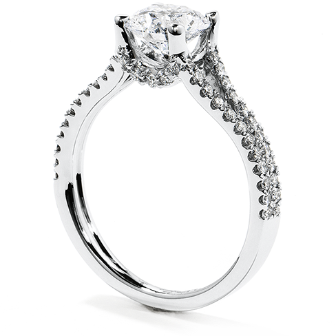 Platinum Brilliant Solitaire Split Diamond Shoulders